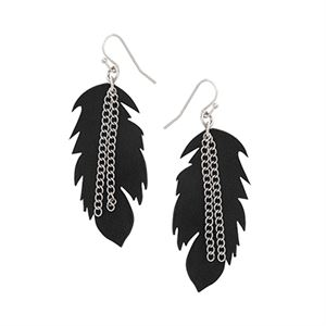 Picture of Leather Feather Earring